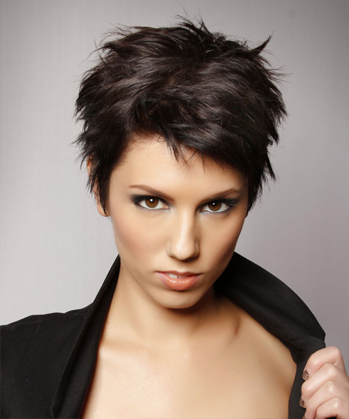 Short Straight Casual Layered Pixie  Hairstyle   - Dark Mocha Brunette Hair Color