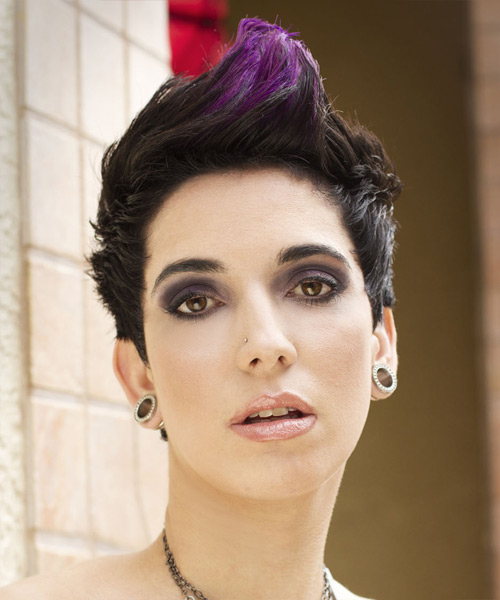 Short Straight Alternative    Hairstyle   - Purple  Hair Color with Purple Highlights