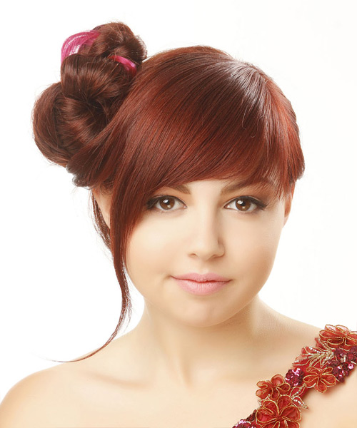 Updo Long Straight Formal Wedding Updo Hairstyle with Side Swept Bangs  - Medium Red