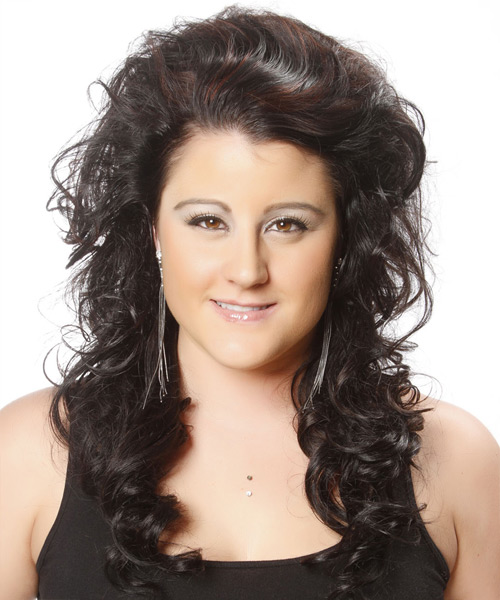 Long Curly   Black    Hairstyle   with  Red Highlights
