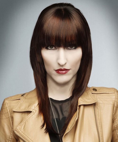 Long Straight Formal    Hairstyle with Blunt Cut Bangs  -  Auburn Brunette Hair Color