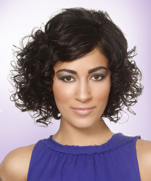Short Curly Black Hairstyle with Side Swept Bangs