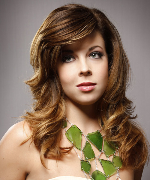Long Straight Formal    Hairstyle with Side Swept Bangs  -  Chestnut Brunette Hair Color with  Blonde Highlights