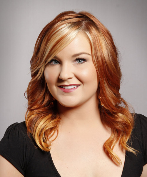 Long Wavy Formal   Hairstyle with Side Swept Bangs  - Medium Red (Copper)