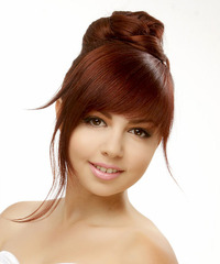 Long Straight Formal   Updo Hairstyle with Blunt Cut Bangs  -  Red Hair Color