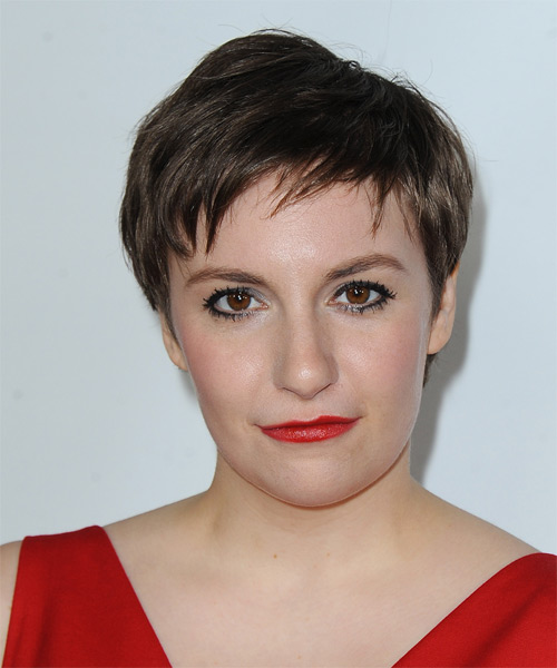 Lena Dunham Short Straight Casual   Hairstyle with Layered Bangs  - Medium Brunette (Chocolate)