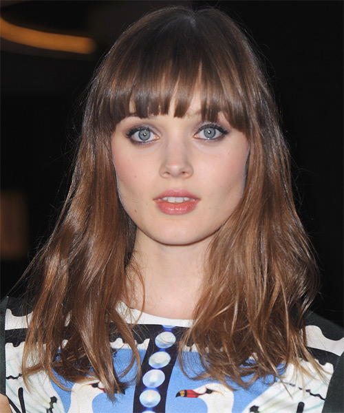 Bella Heathcote Long Straight    Caramel Brunette   Hairstyle with Blunt Cut Bangs