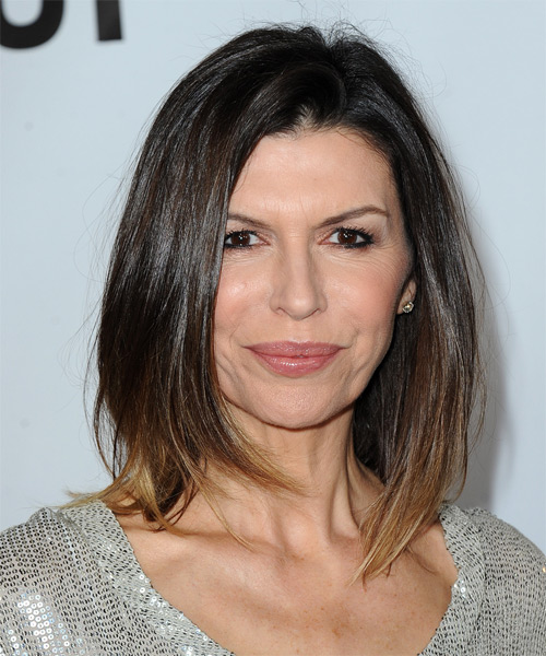 Finola Hughes Medium Straight Casual   Hairstyle   - Dark Brunette