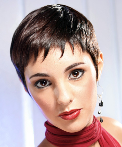 Short Straight Formal    Hairstyle   - Mocha Hair Color