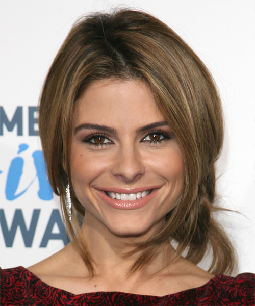 Maria Menounos Long Straight Brunette Updo With Light