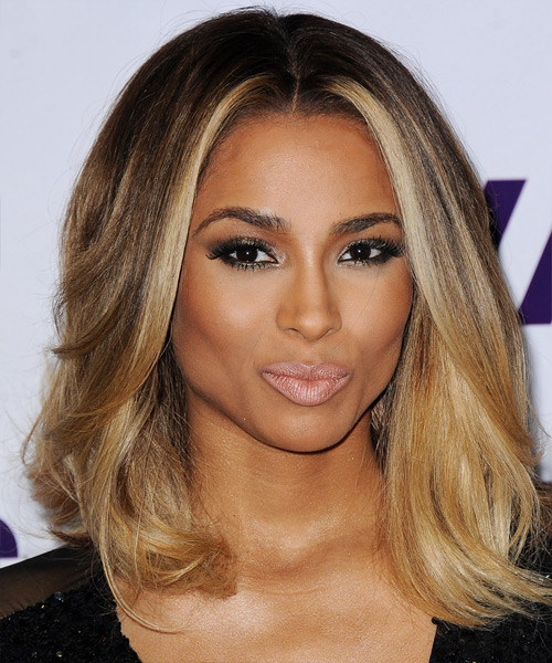 Ciara Medium Straight Formal    Hairstyle   -  Brunette Hair Color with  Blonde Highlights