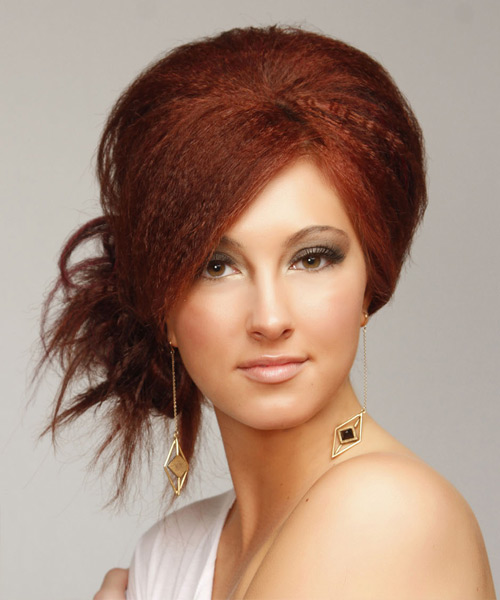 Updo Long Straight Casual Emo Updo Hairstyle   - Medium Red