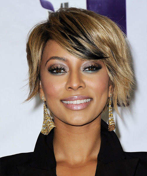 Keri Hilson Short Straight Casual    Hairstyle with Side Swept Bangs  - Medium Champagne Blonde Hair Color with Black Highlights