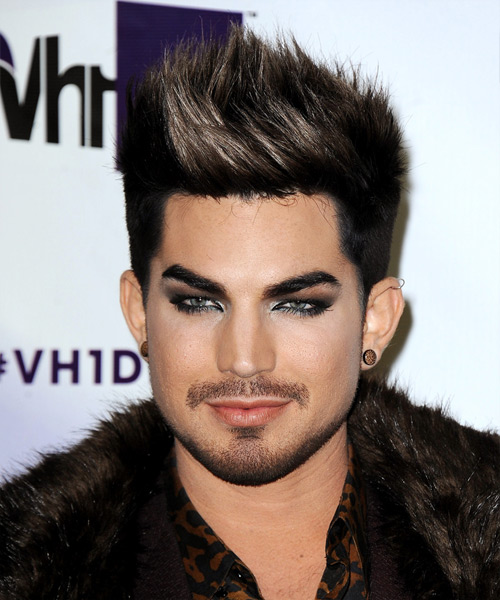 Adam Lambert Short Straight Casual    Hairstyle   - Black  and Light Brunette Two-Tone Hair Color