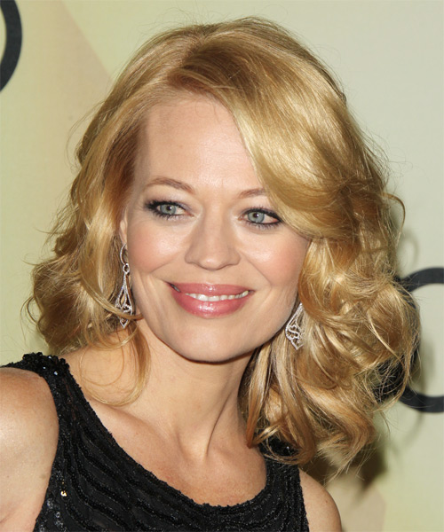 Jeri Ryan Medium Wavy Formal   Hairstyle with Side Swept Bangs  - Medium Blonde (Honey)