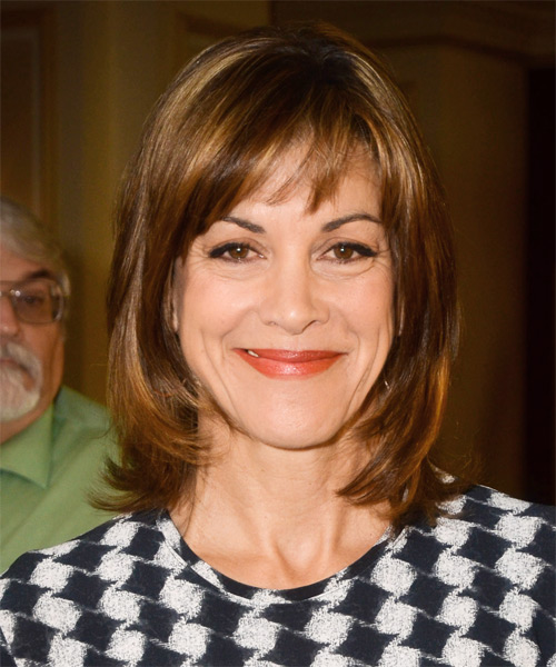 Wendie Malick Medium Straight Casual   Hairstyle with Side Swept Bangs  - Medium Brunette (Copper)