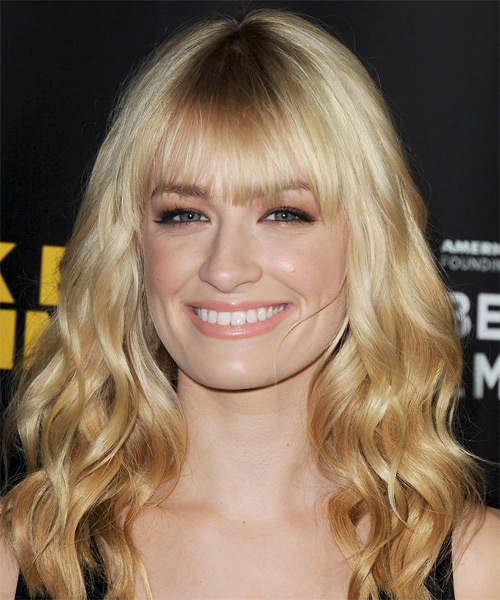 Beth Behrs Long Wavy   Light Honey Blonde   Hairstyle with Blunt Cut Bangs