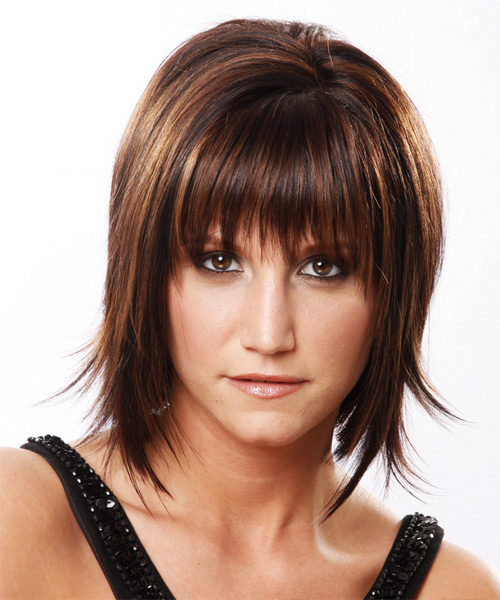 Medium Straight Formal    Hairstyle with Layered Bangs  - Medium Mocha Brunette Hair Color