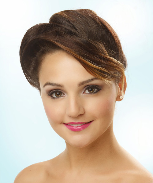 Updo Long Straight Formal Wedding Updo Hairstyle   - Medium Brunette