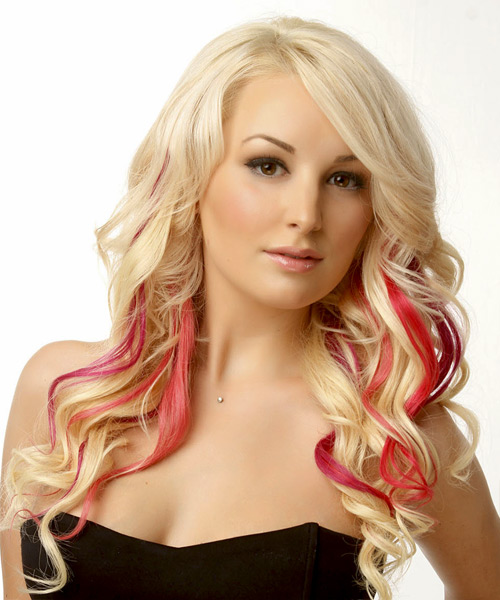 Long Wavy Light Blonde Hairstyle with Side Swept Bangs