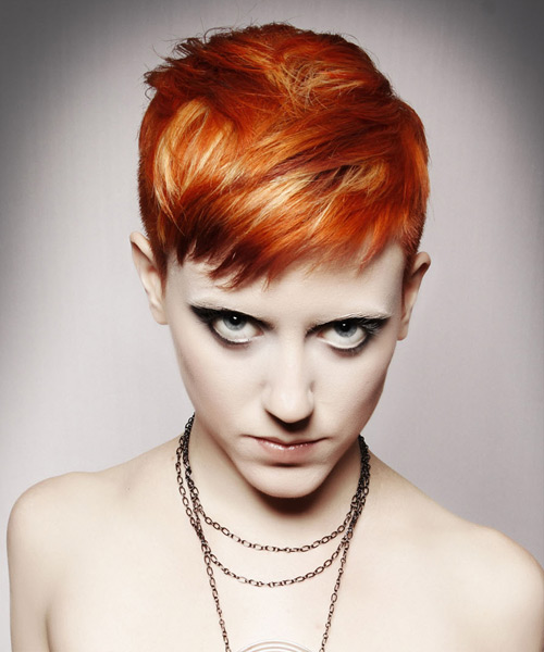 Short Straight Casual    Hairstyle   - Medium Ginger Red Hair Color