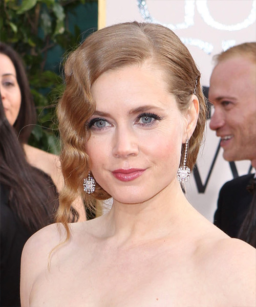 Amy Adams  Medium Curly Formal   Updo Hairstyle   -  Strawberry Blonde Hair Color