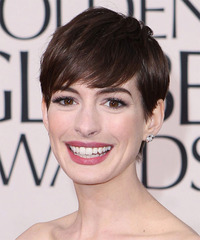 Anne Hathaway Short Straight Formal Layered Pixie  Hairstyle with Side Swept Bangs  - Dark Mocha Brunette Hair Color