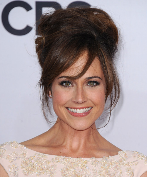 Nikki DeLoach  Long Straight    Auburn Brunette  Updo  with Side Swept Bangs