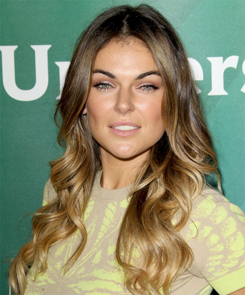 Serinda Swan Long Wavy Casual Hairstyle Dark Golden