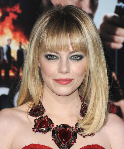 Emma Stone Long Straight Formal   Hairstyle with Blunt Cut Bangs  - Medium Blonde (Champagne)