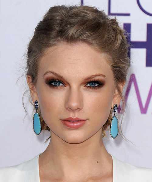Taylor Swift  Long Curly Casual  Braided Updo Hairstyle   - Light Caramel Brunette Hair Color