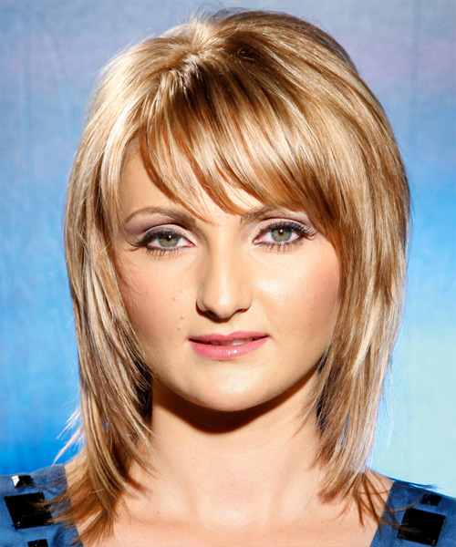 Long Straight Casual    Hairstyle with Side Swept Bangs  - Golden Hair Color