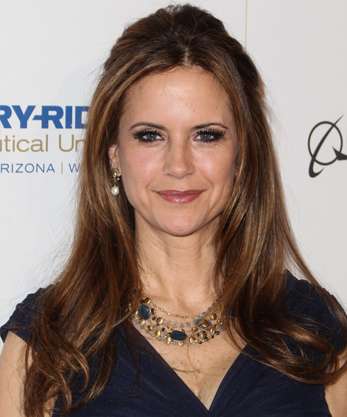 Kelly Preston  Long Straight Casual   Half Up Hairstyle   - Medium Auburn Brunette Hair Color with Dark Blonde Highlights