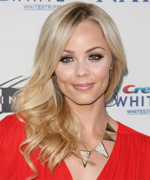 Laura Vandervoort Long Wavy Formal    Hairstyle   - Light Blonde Hair Color