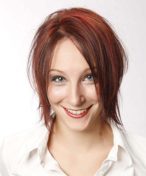 Short Straight Casual    Hairstyle   - Medium Red Hair Color with Light Red Highlights