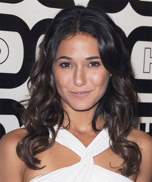 Emmanuelle Chriqui Long Wavy Casual    Hairstyle   - Dark Brunette Hair Color