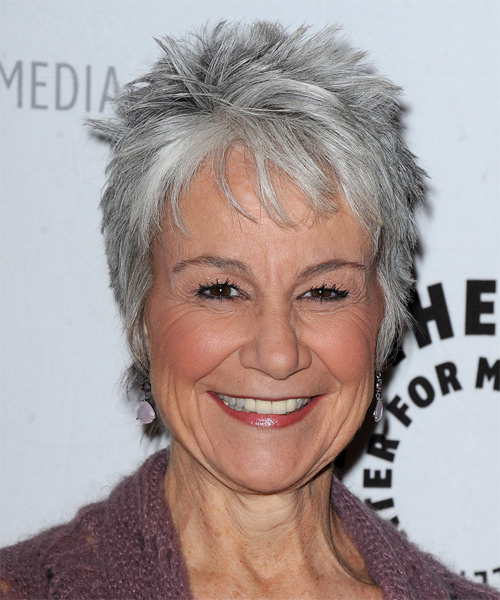 Andrea Romano Short Straight Casual    Hairstyle with Layered Bangs  - Medium Grey Hair Color