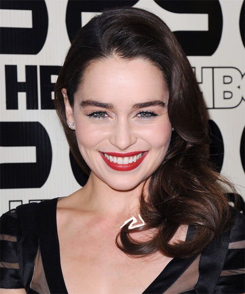 Emilia Clarke Long Straight Formal   Hairstyle   - Dark Brunette (Mocha)
