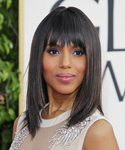Kerry Washington Medium Straight Formal   Hairstyle with Layered Bangs  - Black