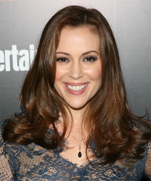 Alyssa Milano Long Straight Formal    Hairstyle   -  Auburn Brunette Hair Color