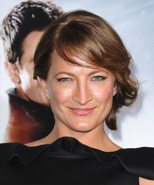 Zoe Bell Updo Long Straight Formal Wedding Updo Hairstyle with Side Swept Bangs  - Medium Brunette (Caramel)