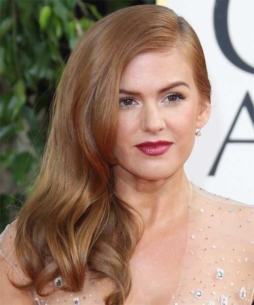 Isla Fisher Long Straight Formal Hairstyle Copper Blonde Hair Color