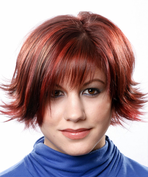 Medium Straight Formal   Hairstyle with Razor Cut Bangs  - Medium Red