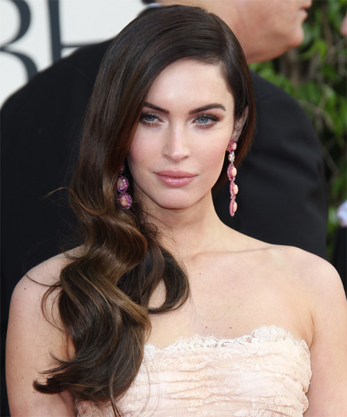 Megan Fox Long Wavy Formal    Hairstyle   -  Brunette Hair Color