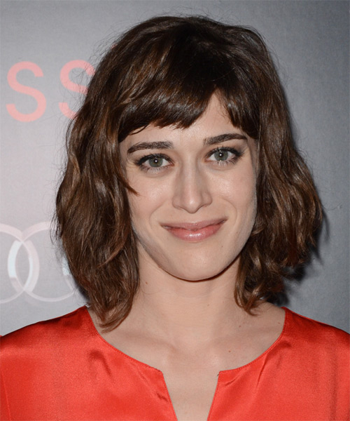 Lizzy Caplan Medium Wavy Casual   Hairstyle with Blunt Cut Bangs  - Medium Brunette (Chocolate)