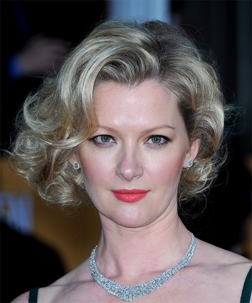 Gretchen Mol Short Curly Formal    Hairstyle   - Medium Ash Blonde Hair Color with Light Blonde Highlights