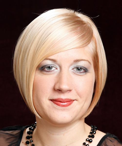Short Straight Formal Bob  Hairstyle with Side Swept Bangs  - Light Blonde (Golden)