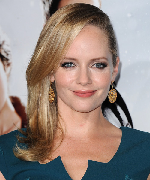 Marley Shelton Long Straight Formal    Hairstyle   -  Golden Blonde Hair Color with Light Blonde Highlights
