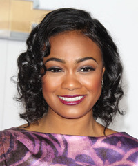 Tatyana Ali Medium Curly Formal    Hairstyle   - Black  Hair Color