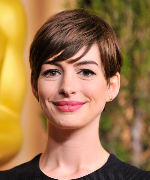 Anne Hathaway      Chocolate Brunette Pixie  Cut with Side Swept Bangs